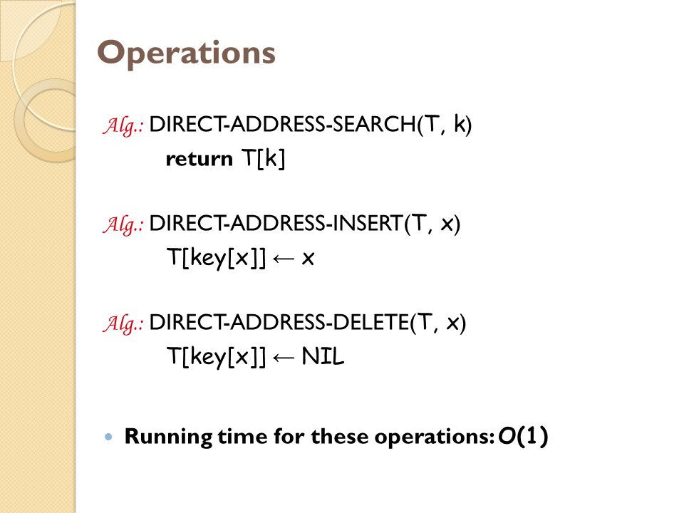 Operations Alg.: DIRECT-ADDRESS-SEARCH(T, k) return T[k]